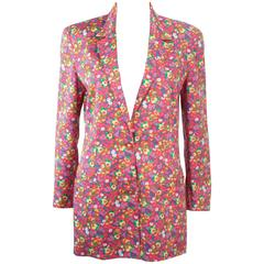 GIANNI VERSACE Vintage Floral Print Blazer with Medusa Buttons Size 8 10