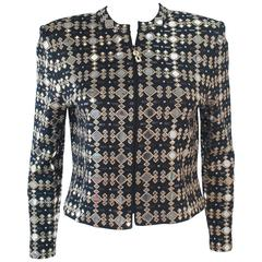 ST. JOHN Black Stretch Knit Jacket with Gold Metallic & Mirorr Accents Size 4