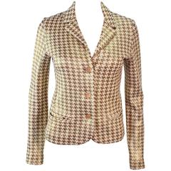 MISSONI Gold and Cream Metallic Houndstooth Stretch Blazer Size 40