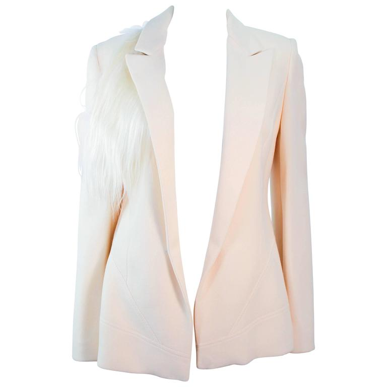bfd07513593 FAUSTO PUGLISI Vintage Silk Cream and White Goat Hair Blazer Size 46 Large  For Sale