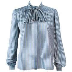 VALENTINO Vintage Blue and White Pinstripe Blouse with Pleated Bow Size 6
