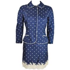 Christian Dior by John Galliano 90's Polka Dot Print and Lace Silk Skirt Suit