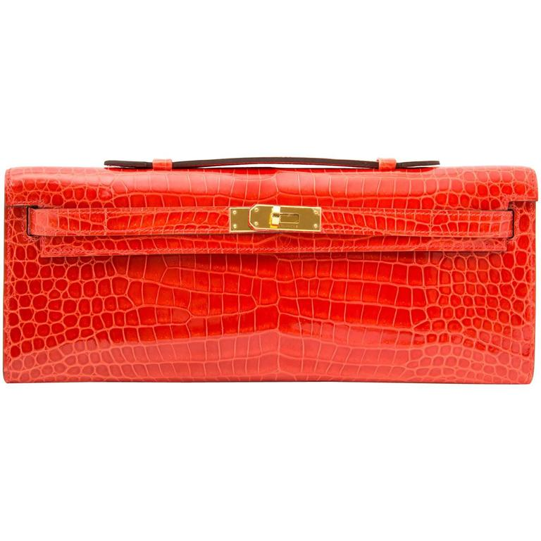 Hermès Brand New Kelly Cut Pochette Crocodile Porosus Lisse Orange  1