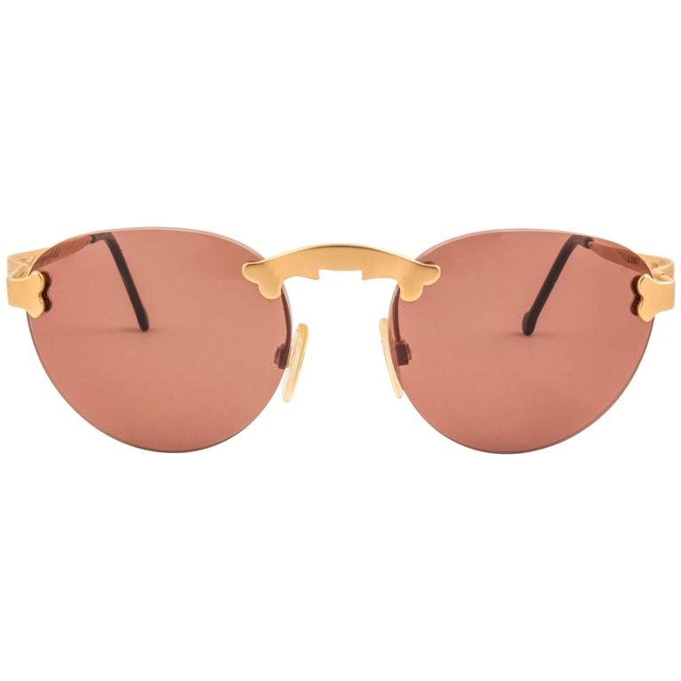 New Vintage Karl Lagerfeld Rimless Gold Amber  80's Germany Sunglasses 1