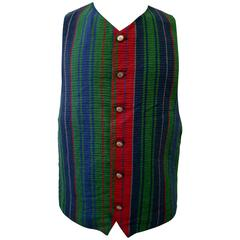 Istante By Gianni Versace Printed Linen Waistcoat Spring 1994