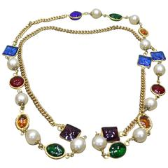 Chanel Multicolour Gripoix Stones and Pearl Gold Toned Necklace