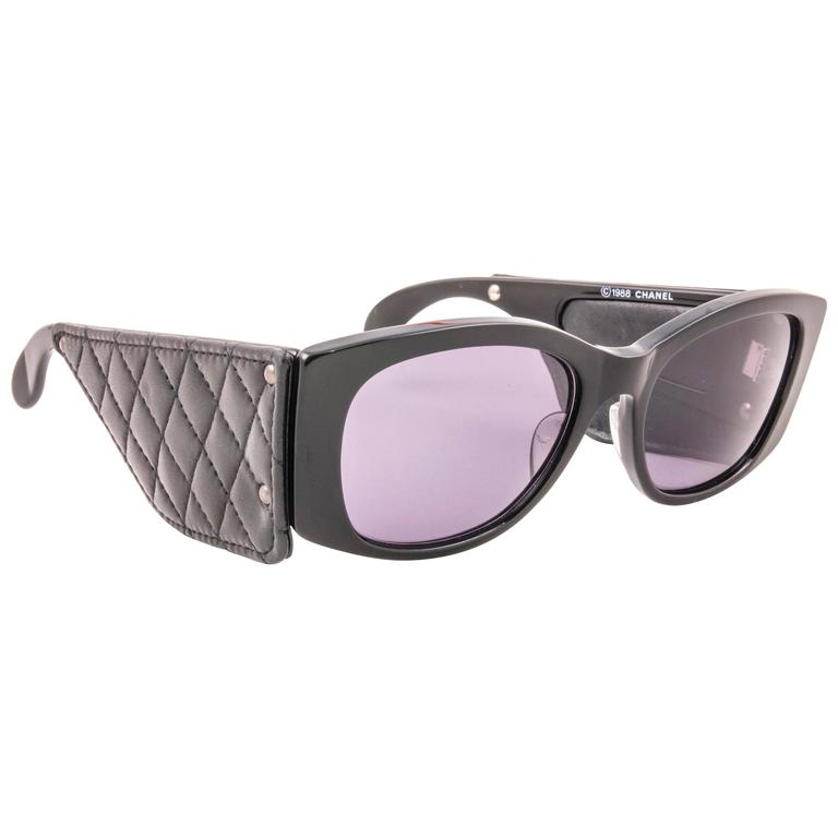adc3425564a71 New Vintage Chanel Black Quilted Sides 1988 Sunglasses Made In France For  Sale at 1stdibs
