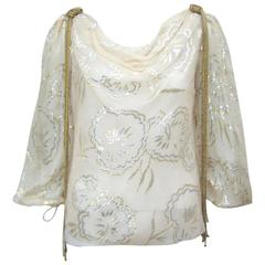 Ethereal 1970's Mary McFadden Silk Top With Gold Braiding