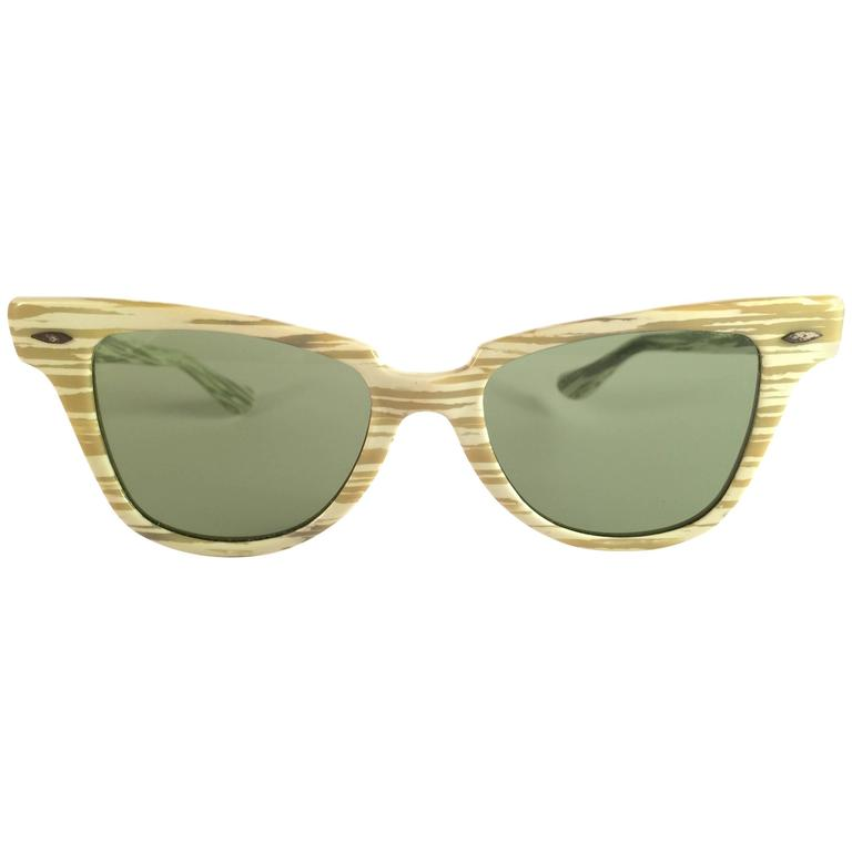 New Ray Ban 1960's Mint Green Mid Century Black G15 Lenses B&L USA Sunglasses