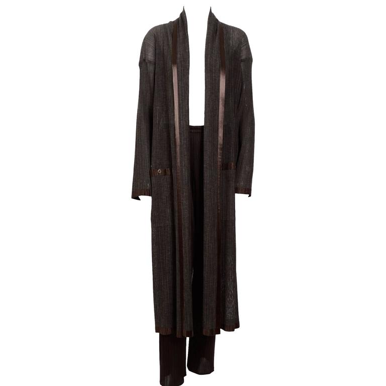 ISSEY MIYAKE 1990's Chocolate Brown Coat/Trousers Set