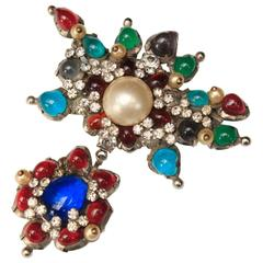 1955-1965 Chanel by Gripoix Brooch with Colored Glass, Crystals and Faux-Pearl
