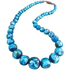 Vintage Art Deco Murano Venetian Foil Glass Necklace Choker