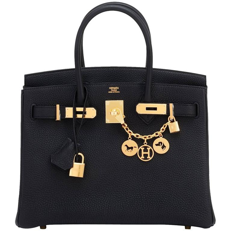 Hermes Black 30cm Birkin Bag Togo Gold Hardware Chic  For Sale