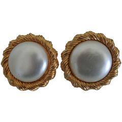 Trifari Gold Tone White Faux Pearls Earrings