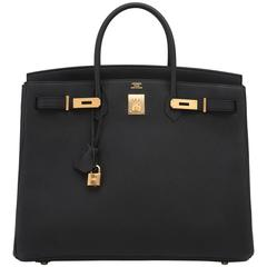 Hermes Black Togo 40cm Birkin Gold Hardware Power Birkin