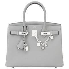 Hermes Gris Mouette Grey 30cm Togo Birkin Bag Palladium Chic