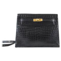 HERMES KELLY DANSE Bag Matte Black Crocodile Incredibly Rare Limited Edition