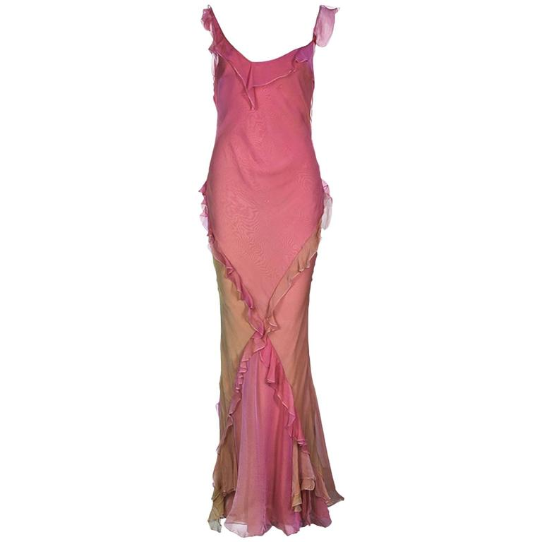 Asymmetric Christian Dior by John Galliano Silk Ombre Evening Gown with Ruches 1