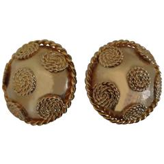 Gold Tone Circle Clip on Earrings