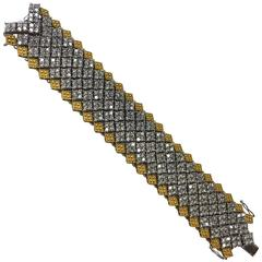 Stunning Pave CZ Crystal Gilt Sterling Silver Flexible Bracelet