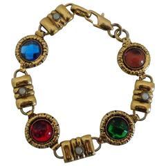 Gold Tone multicoloured Stones Bracelet