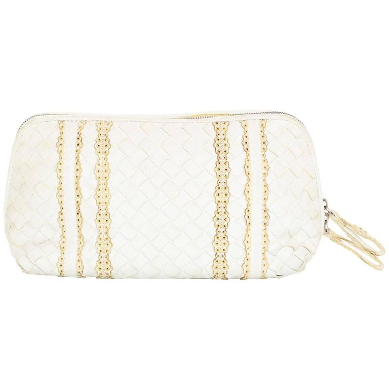 Bottega Veneta White Woven Intrecciato Leather Cosmetic Bag 1