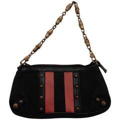 Gucci black Canvas GG fucsia bamboo chain Shoulder Bag