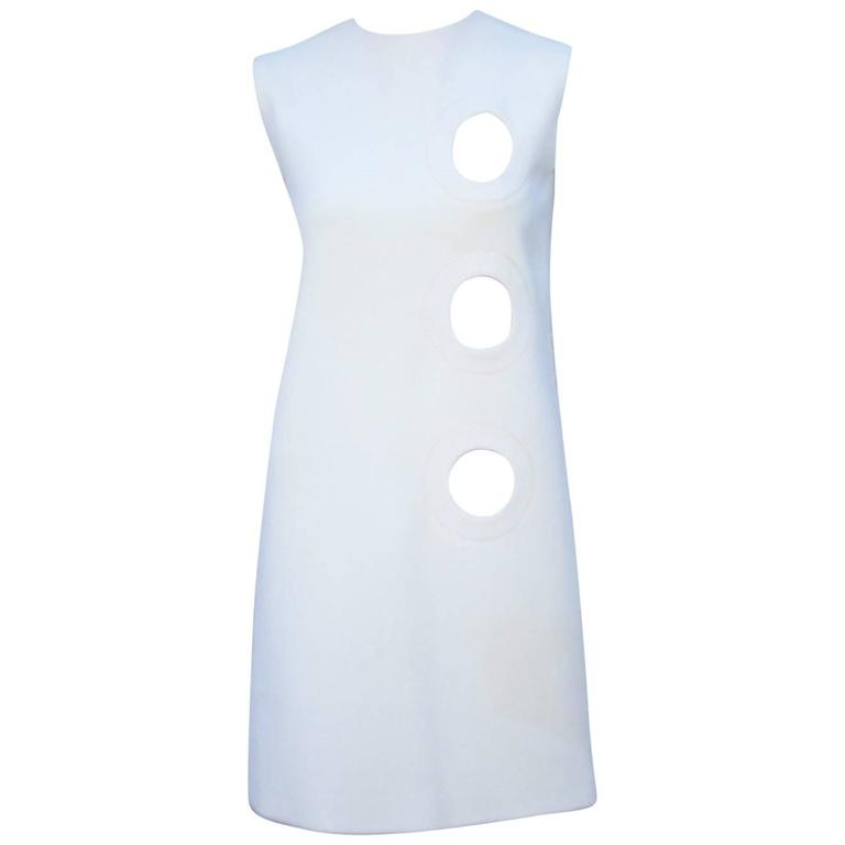 Space Age 1960's Pierre Cardin Mod A-Line Dress Featuring Cut Out Design For Sale