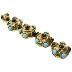 French Artisan Designer Jeweled Link Bracelet Resin & Poured Glass Cabochons