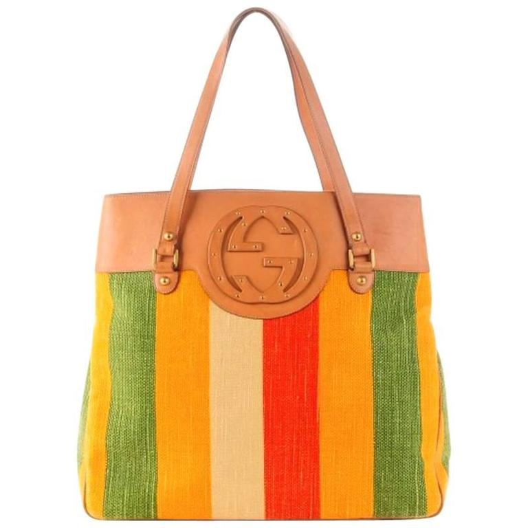 Gucci Striped Baiadera Canvas & Leather Gg Logo Tote Shoulder Bag