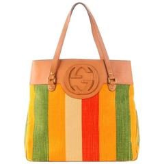 Gucci Striped Canvas & Leather GG Logo Tote Shoulder Bag