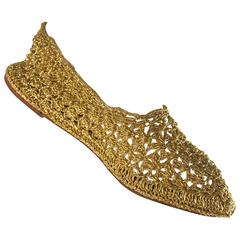 Rare New 1950s SAKS 5th Avenue Gold Metallic Raffia Vintage Flats Shoes 7 / 7.5