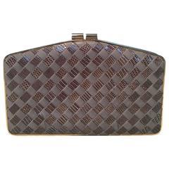 Bottega Veneta Vintage Woven Grey Lizard and Leather Clutch