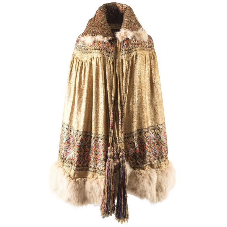 1920s gold lamé evening cape with fox fur trim