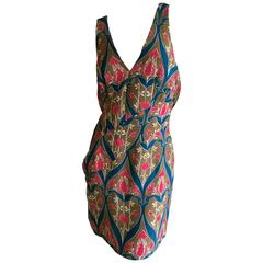 Prada Tulip Print Mini Dress with Keyhole Back Size 44