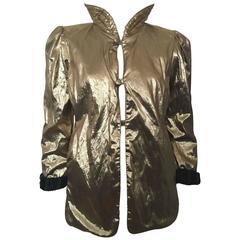 Vintage 1980s David Butler Chartriver Gold Black Metallic Reversible Jacket