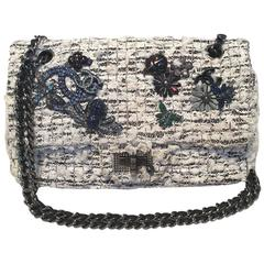 Chanel Tweed and Lace Embellished Mini Classic Flap Shoulder Bag