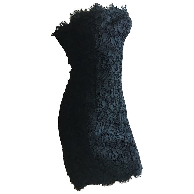 Christian Lacroix Black Lace Strapless Mini Dress XS For Sale