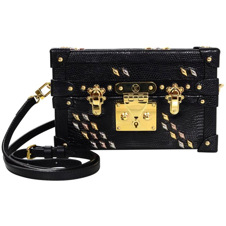 Louis Vuitton Black Lizard Studded Pee Malle Crossbody Bag With Box For