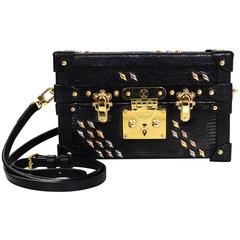 Louis Vuitton Black Lizard Studded Petite Malle Crossbody Bag with Box