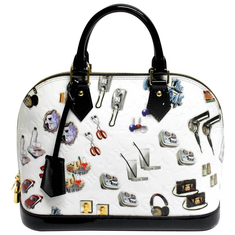 Louis Vuitton White Vernis Stickers Alma PM Bag 1