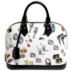 Louis Vuitton White Vernis Stickers Alma PM Bag