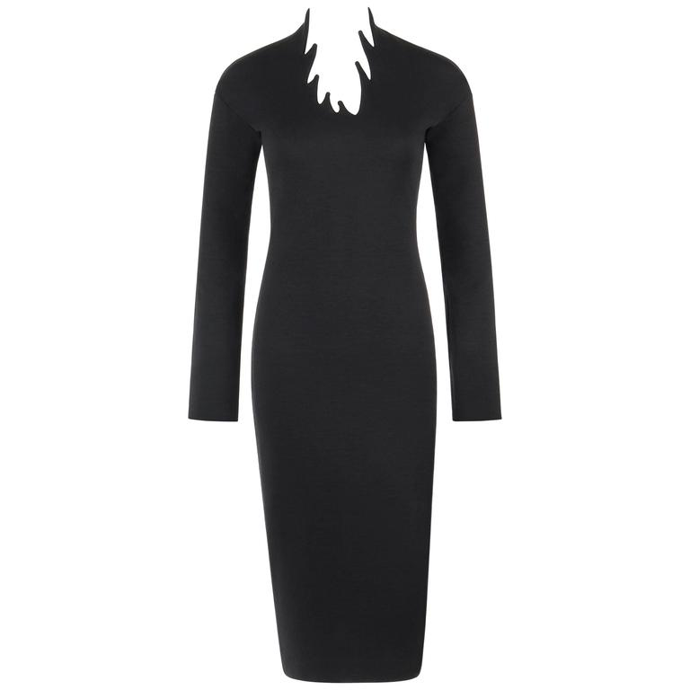 ROMEO GIGLI c.1980's Black Wool Knit Avant Garde Stalagmite Sheath Dress