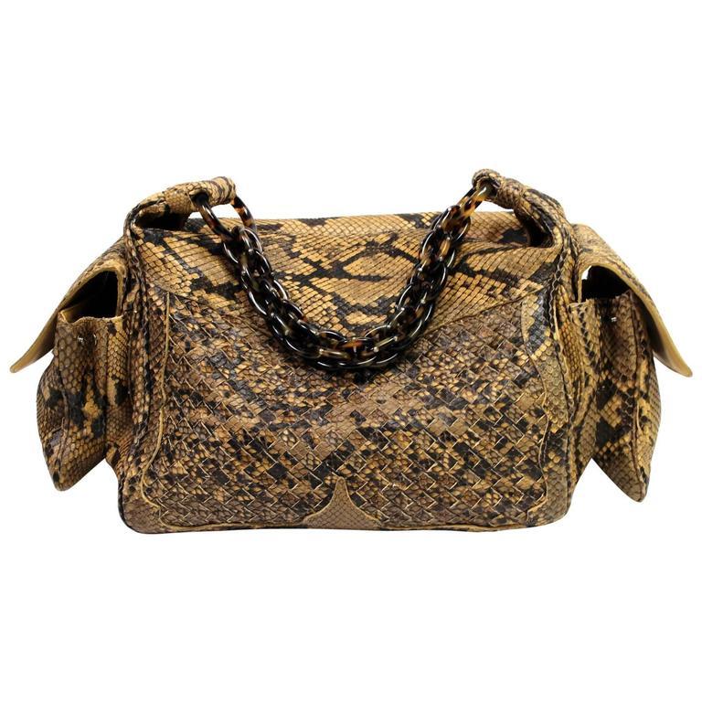 Bottega Veneta Brown Python Crocker Bag 1