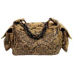 Bottega Veneta Brown Python Crocker Bag