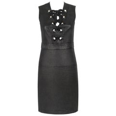 GUCCI S/S 2015 Black Napa Leather Lattice Lace Up Grommeted Sheath Dress