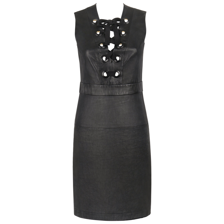 GUCCI S/S 2015 Black Napa Leather Lattice Lace Up Grommeted Sheath Dress