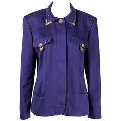 1990s Gianni Versace Jeans Couture Bondage purple Jacket