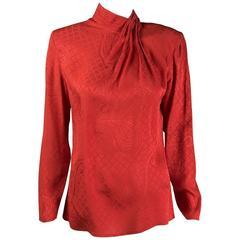 Mila Schon boutique vintage silk damask red blouse ,1980s