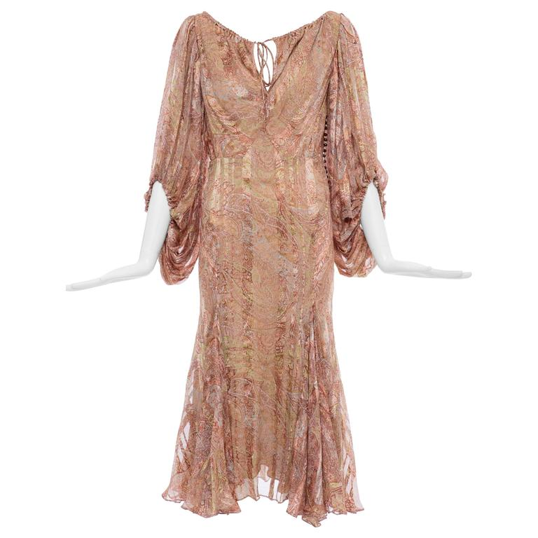 Zac Posen Silk Chiffon Dress With Paisley Print, Fall 2005
